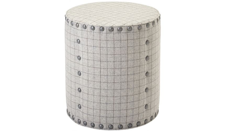 Luxury Leather & Upholstered Furniture Grid Cylindrical Ottoman