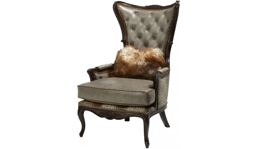 Luxury Leather & Upholstered Furniture Tufted Arm Chair with Nail Head Trims