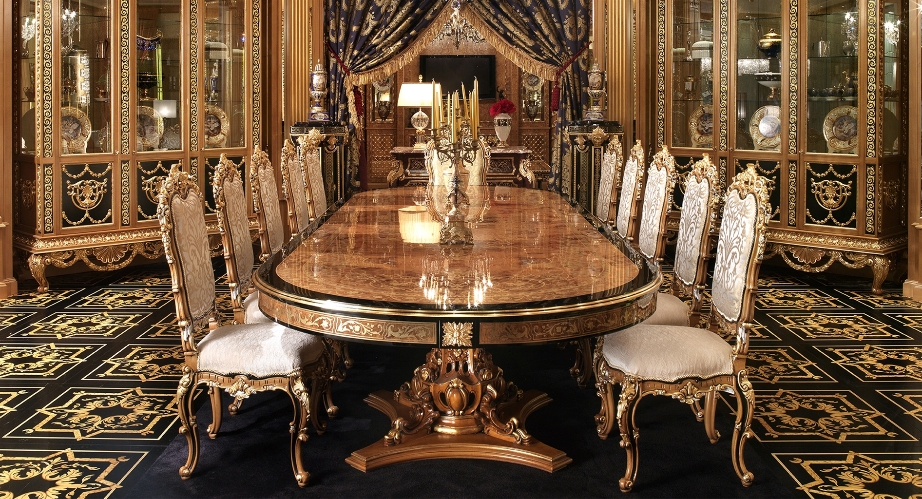 Luxury dining furniture exquisite boulle marquetry work for Exclusive dining table designs