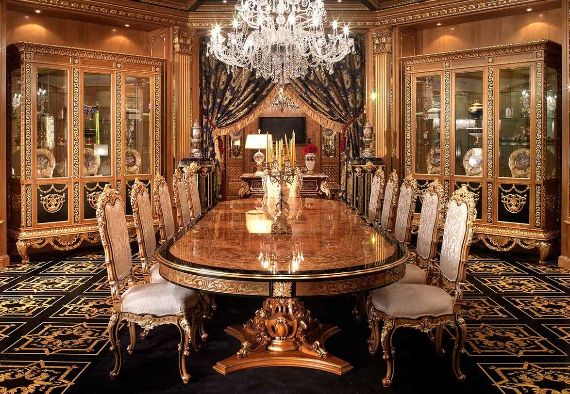 Luxury dining furniture exquisite boulle marquetry work for Luxury dining room furniture