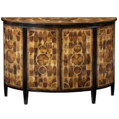 Bow Front Cabinet, Solid Walnut With Cast Brass Hardware. High End Home Furnishings 1172