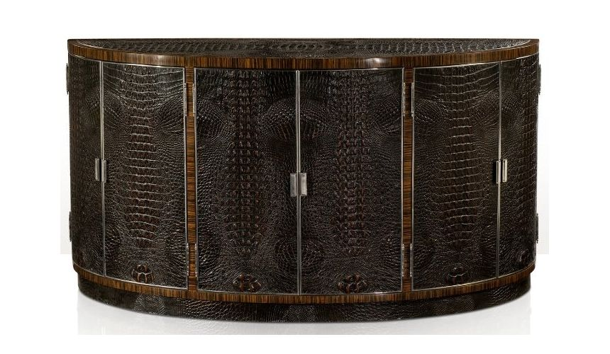 Console & Sofa Tables Gator, alligator skin bowfront side cabinet. High style luxury furniture.
