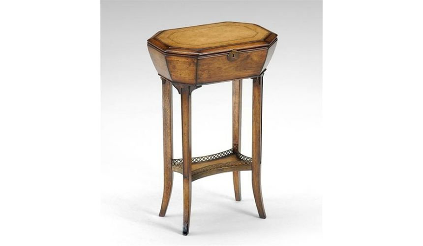Decorative Accessories Box on stand table leather top 592087
