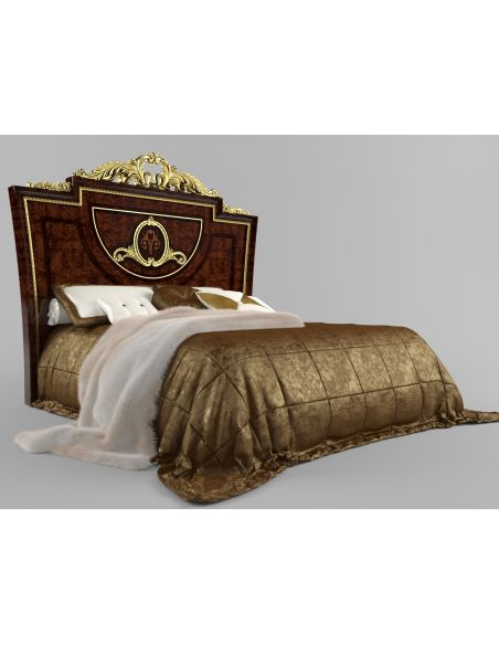 LUXURY BEDROOM FURNITURE Bed with Ash Burl Headboard