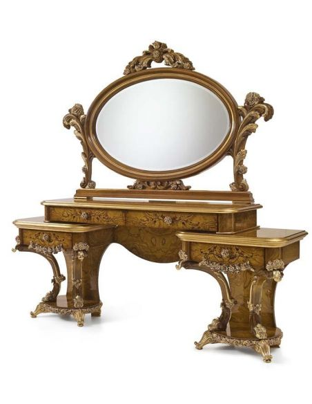 Furniture Masterpieces Oval Mirror and Dressing Table