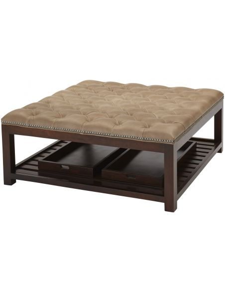 Luxury Leather & Upholstered Furniture Tufted Ottoman Bench