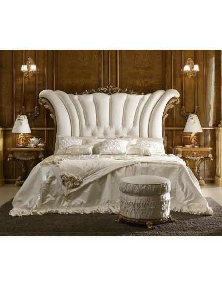 BEDS - Queen, King & California King Sizes White Upholstered Bed with Surround