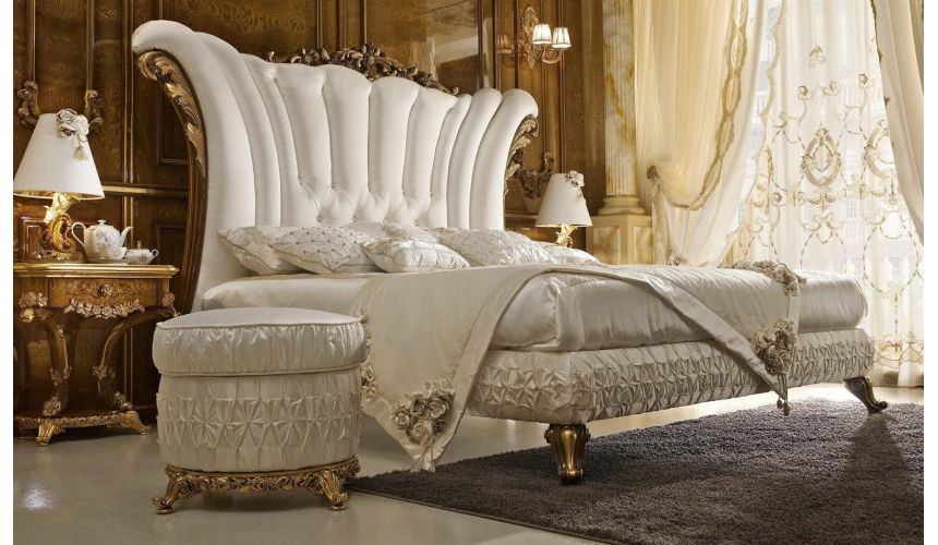 BEDS - Queen, King & California King Sizes White Bed with Sommier
