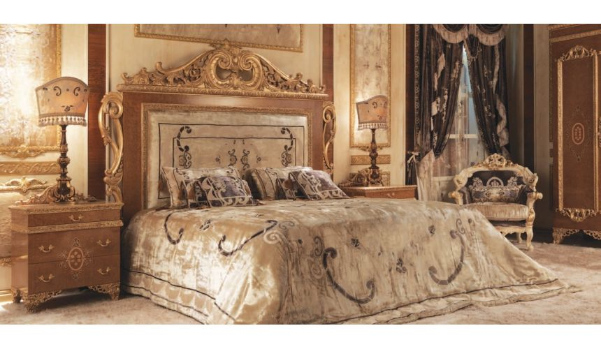 BEDS - Queen, King & California King Sizes Italian Bed with Surround and Embroidered Headboard