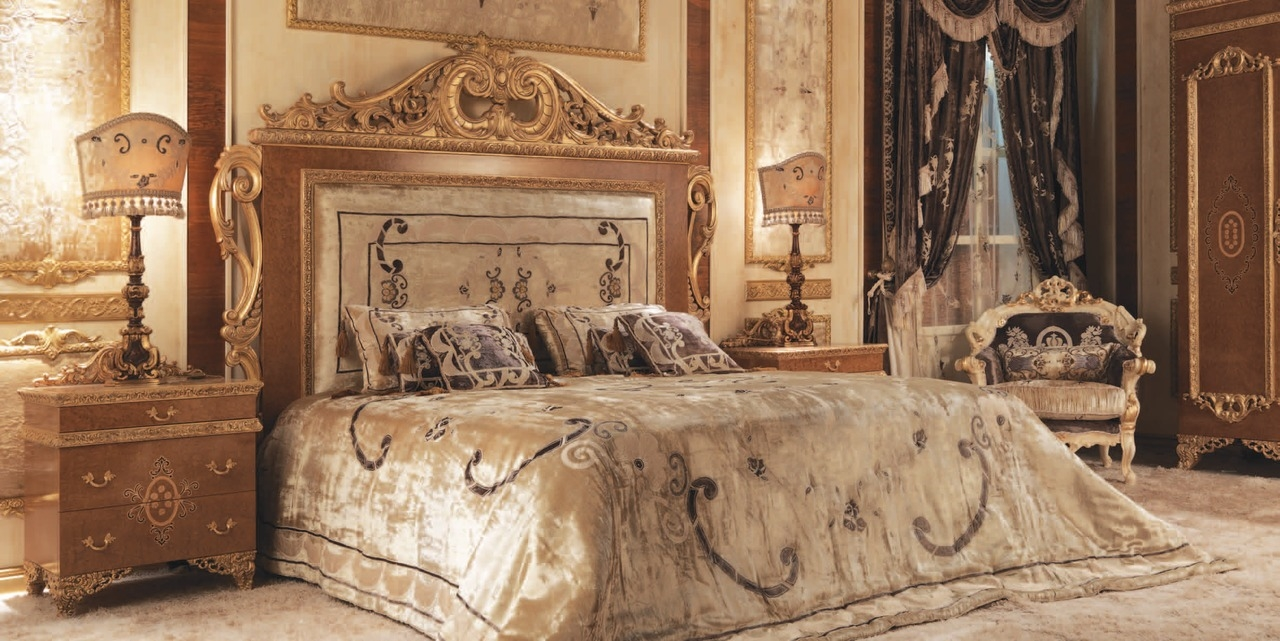 Italian Bed With Surround And Embroidered Headboard