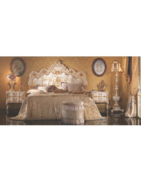 BEDS - Queen, King & California King Sizes Bed with Surround Noble White Upholstered Headboard