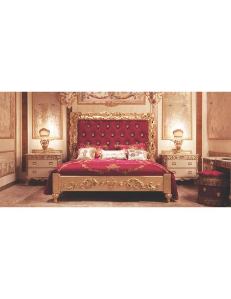 BEDS - Queen, King & California King Sizes Red Italian Style Master Bed with Tufted Headboard