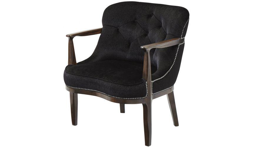 Luxury Leather & Upholstered Furniture Argo Ebony Tufted Club Chair