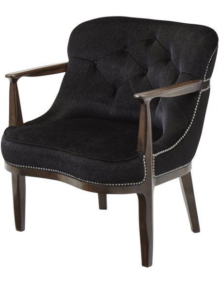 Luxury Leather & Upholstered Furniture Argo Ebony Tufted Club Chair