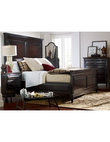 LUXURY BEDROOM FURNITURE Queen Bed with High Headboard & Ebony Finish