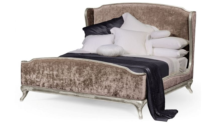 LUXURY BEDROOM FURNITURE French Style Wingback King Bed Truffle Velvet