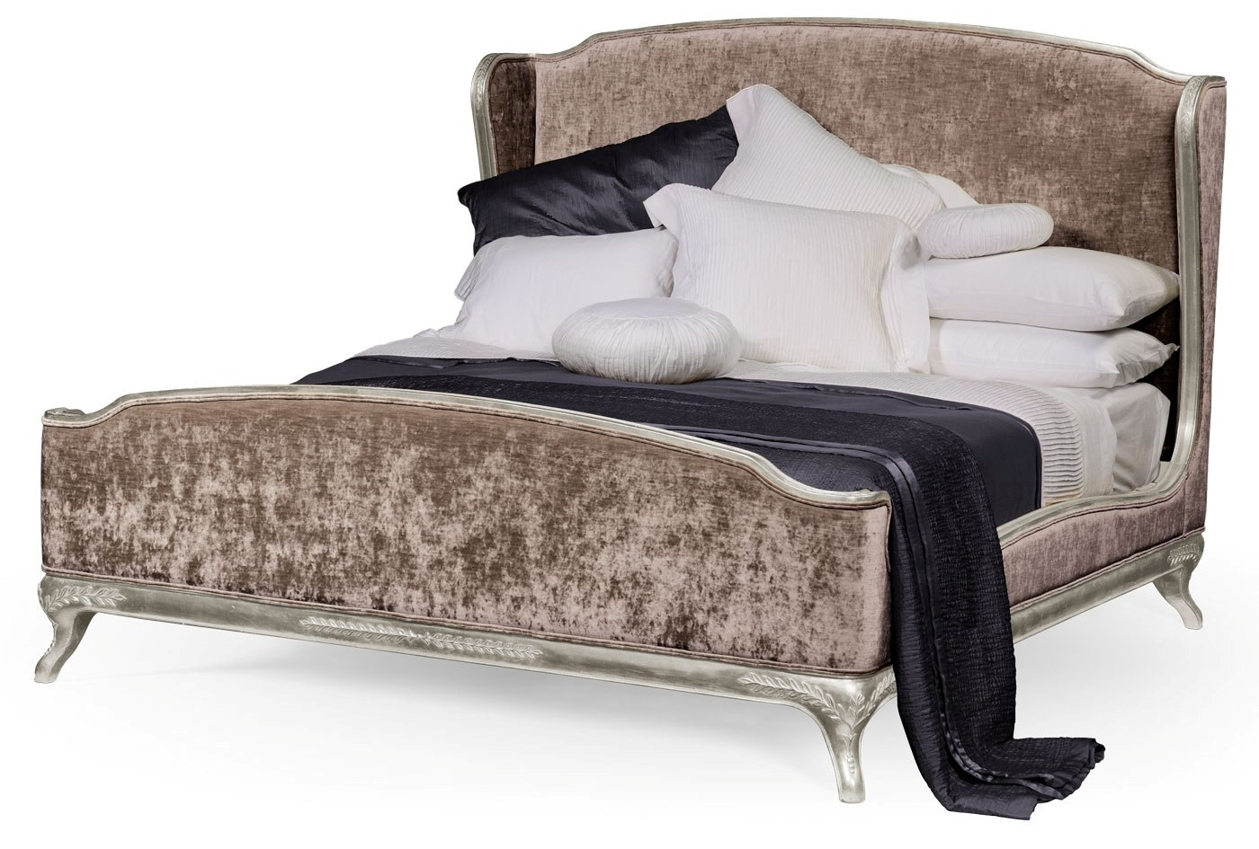 French Style Wingback King Bed Truffle Velvet