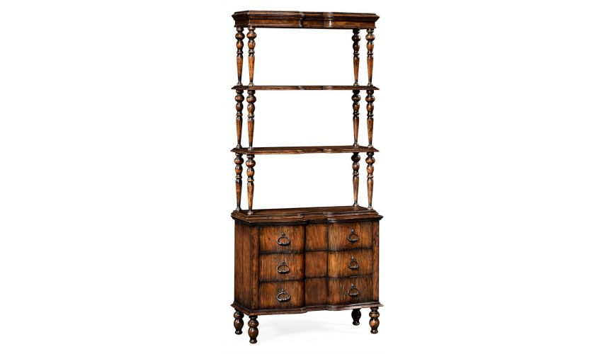 Decorative Accessories Rustic Walnut 3 Tiered etagere with Drawers Underneath