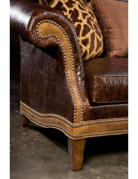 Luxury Leather & Upholstered Furniture Camel back country western sofa. USA made