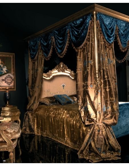 BEDS - Queen, King & California King Sizes Master bed with canopy and embroidered headboard.