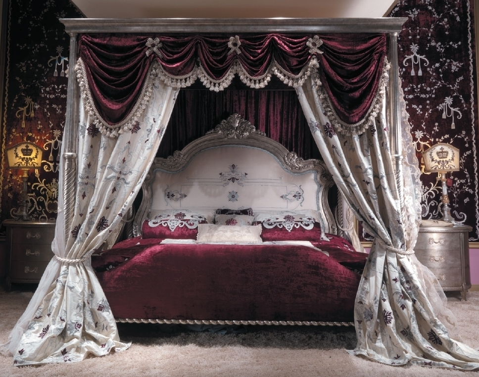Queen and King Sized Beds Master bed with canopy and embroidered headboard. Scarlet red : luxury canopy bed - memphite.com