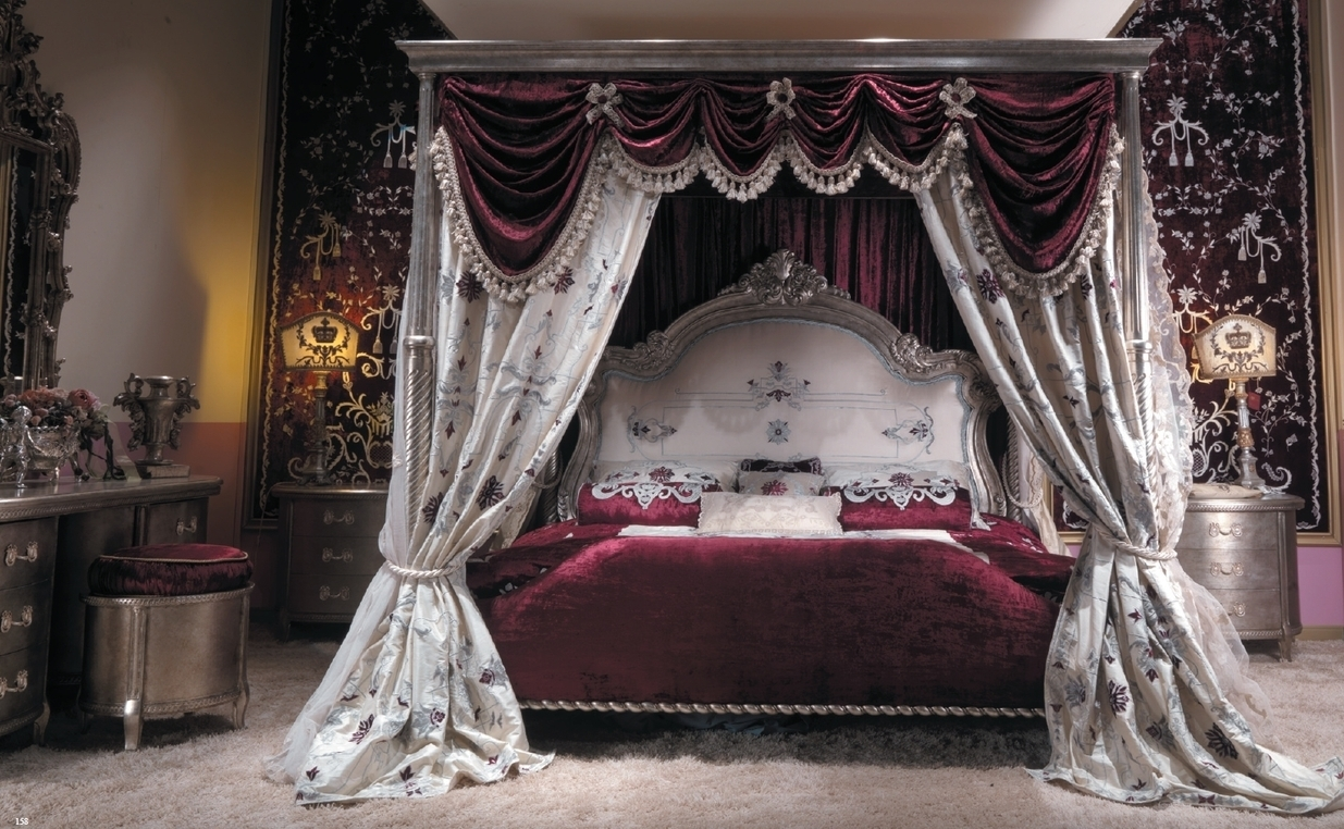 Master Bed With Canopy And Embroidered Headboard Scarlet Red