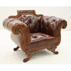 Carved Frame chair. Chesterfield