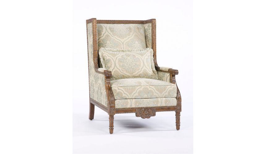 Luxury Leather & Upholstered Furniture Carved Wood Frame Fabric Chair