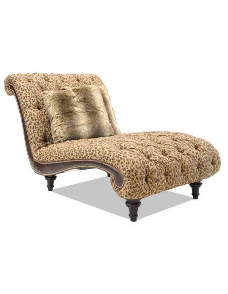 Chaise Bobcat Print Fabric, luxury furniture