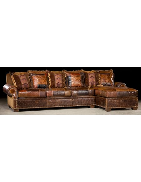 Luxury Leather & Upholstered Furniture Chaise lounge sofa. 448