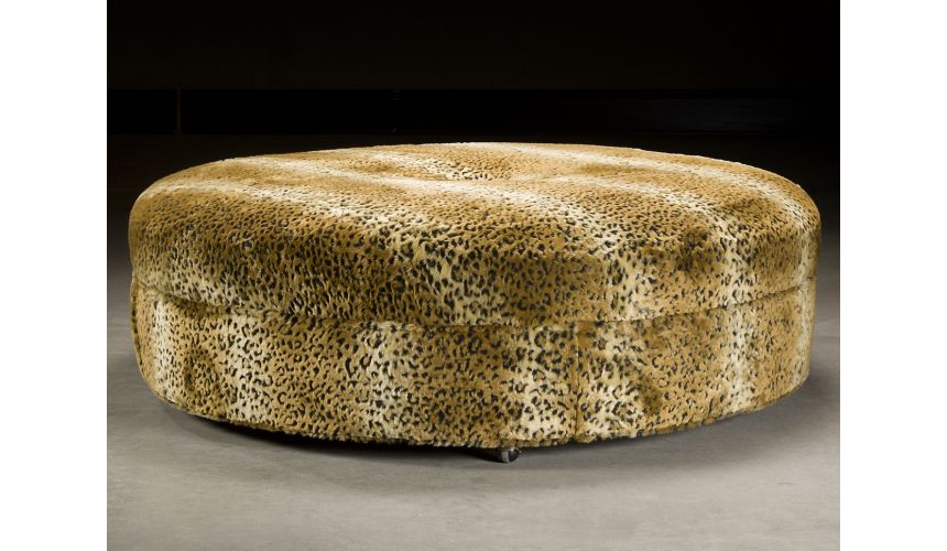 Luxury Leather & Upholstered Furniture Cheetah Print Ottoman. Luxury Furniture
