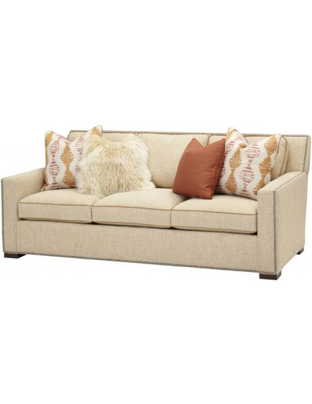 SOFA, COUCH & LOVESEAT Soft-hued Upholstered Sofa
