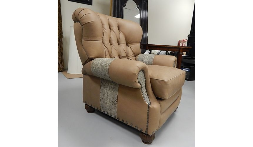 Luxury Leather & Upholstered Furniture Leather and Gator Hide Churchill Tufted Recliner Chair 6622