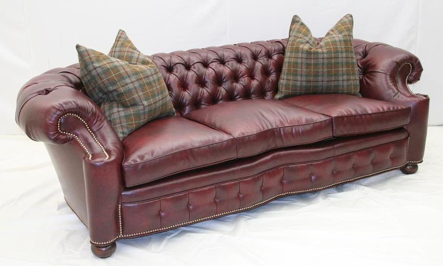 City Club Leather Tufted Sofa 44. High End Furnishings