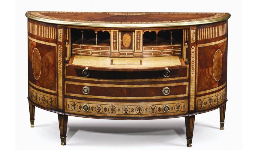 Executive Desks Classic antique reproduction furniture. Secrtaire cabinet office furniture