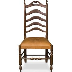 Wooden Side Chair with Leather Seating