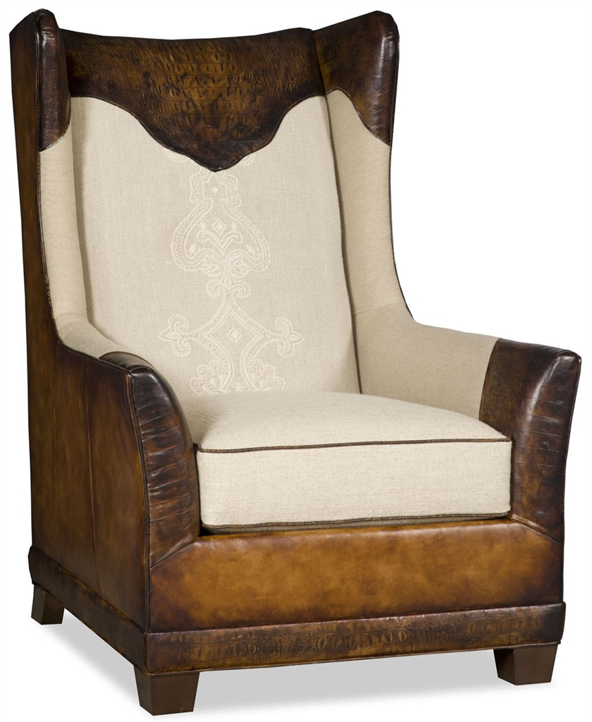 Club armchair with gator embossed leather 64659