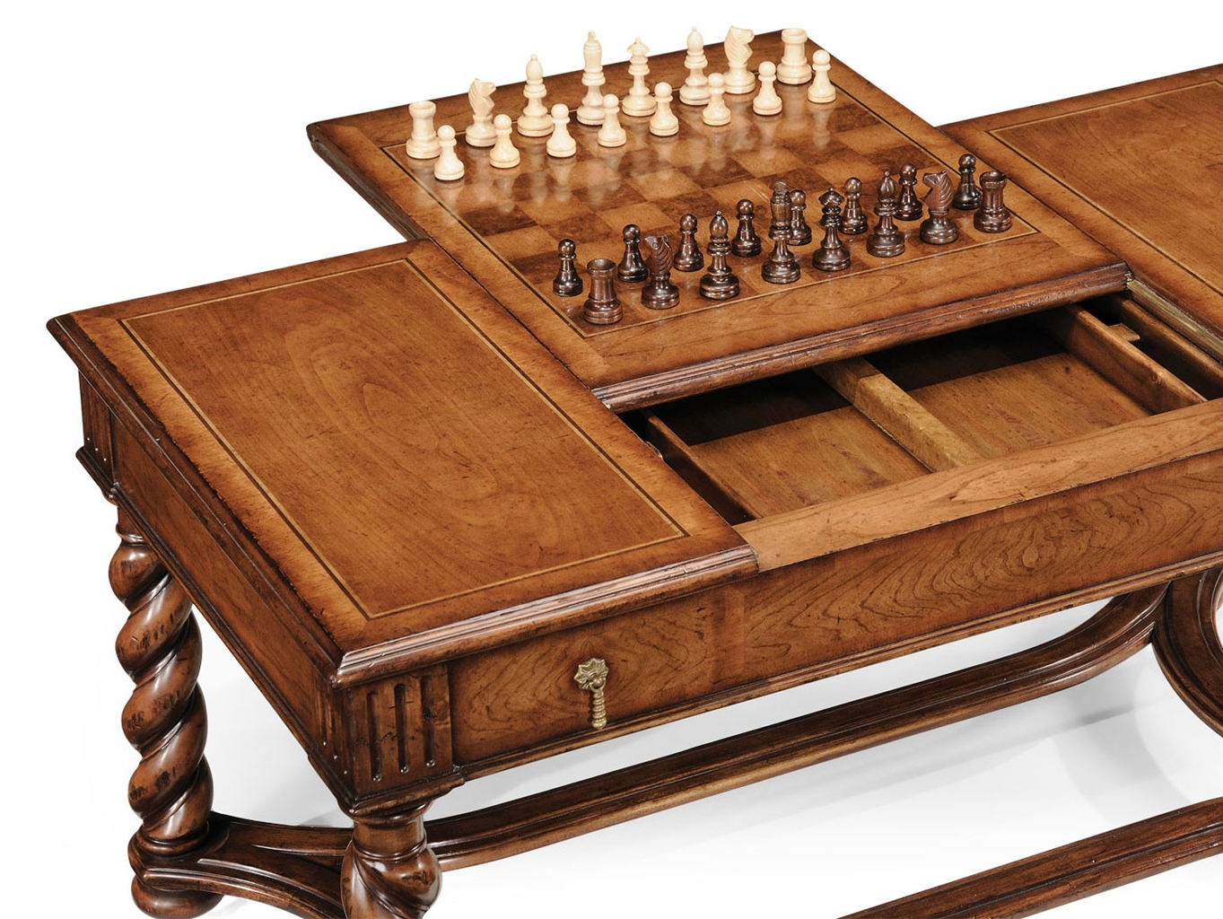 Walnut Parquetry Coffee Table with Reversible Chess Board-06