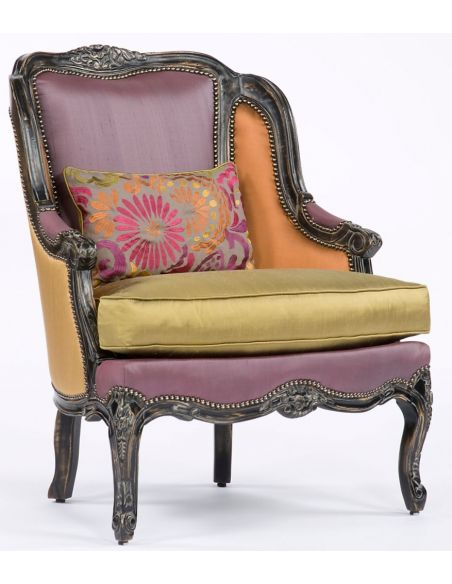 Color Block Fabric Carved Frame Chair