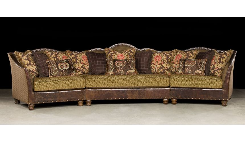 Luxury Leather & Upholstered Furniture Comfy Fabric with Leather Sectional