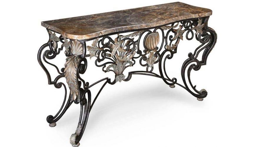 Console & Sofa Tables Console with Marble Top and Iron Base