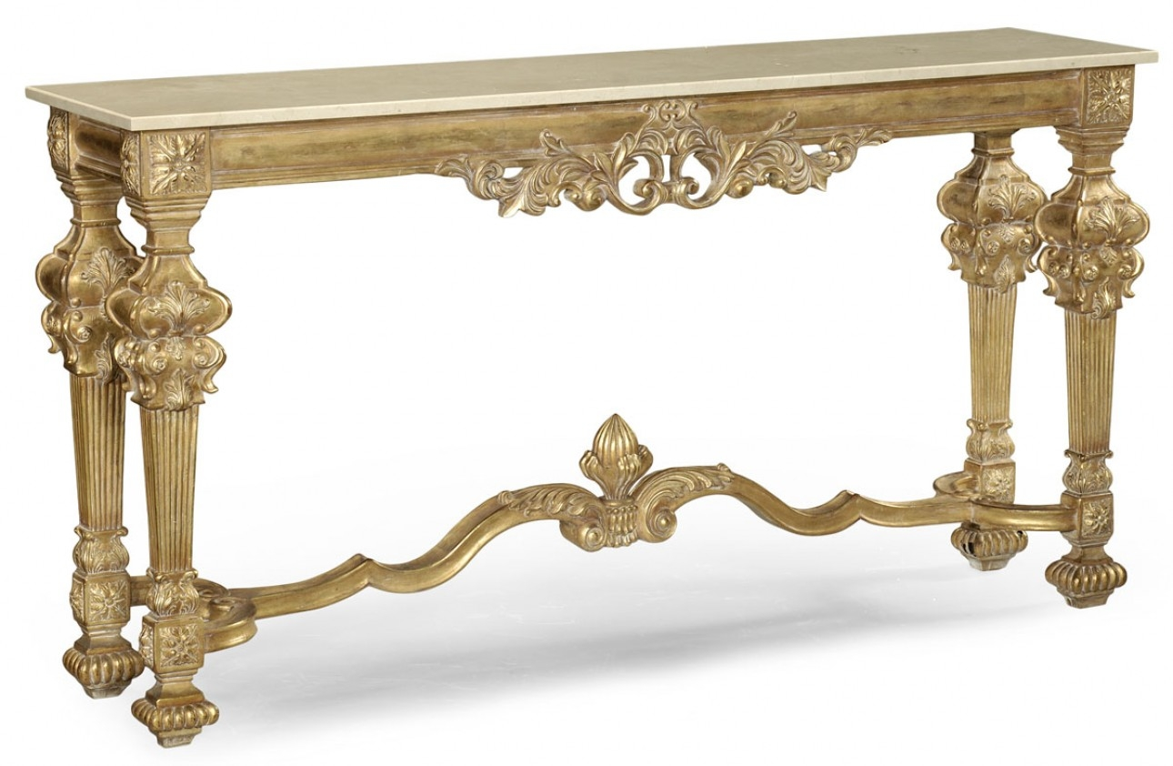 Gold Antique Finish marble top hand carved Console table 593550