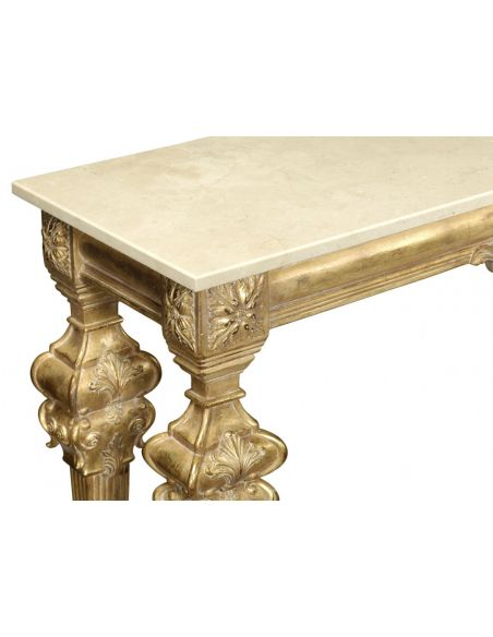 Console & Sofa Tables Gold Antique Finish, marble top, hand carved. Console table 593550