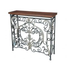 Console with Wrought Iron Brass Accents
