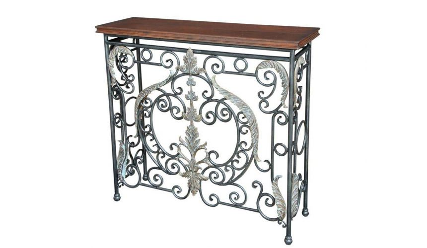 Console & Sofa Tables Console with Wrought Iron Brass Accents