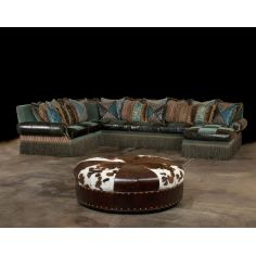 Cool Aqua fabric and leather Sectional