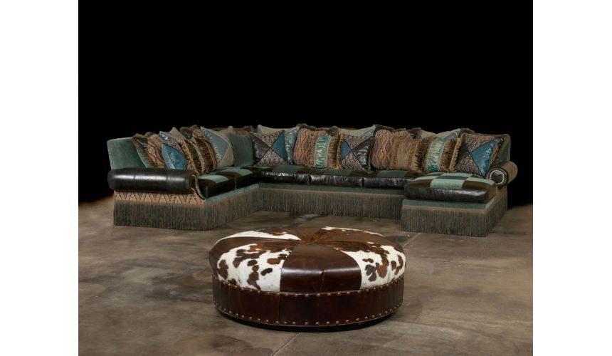 Luxury Leather & Upholstered Furniture Cool Aqua fabric and leather Sectional