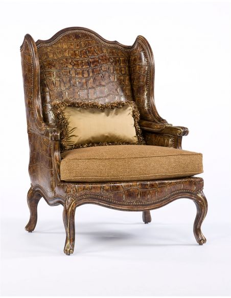Luxury Leather & Upholstered Furniture Cool Croc Leather and Fabric Accent Chair