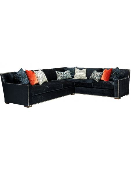 Luxury Leather & Upholstered Furniture Magical dark blue sectional. High end furnishings. 4556