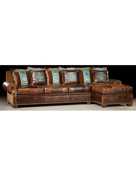 Luxury Leather & Upholstered Furniture Couch with chaise lounge. High end furniture and furnishings. 46